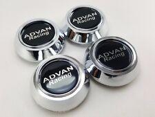 Center Wheels Caps Hub Silver Chrome Size 58.5mm. Logo Resin Black Advan Racing