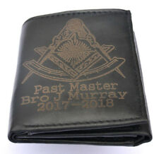 MASONIC PAST MASTER GIFT PERSONALISED LEATHER WALLET ANY NAME DATE & LODGE NO