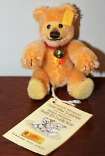 Steiff Mini Teddy Baby 6cm Jointed Gold Yellow 039225 w/Tags and Button