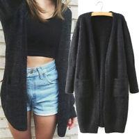 Neu Mode Schwarz Damen Strickjacke Lang Warm Cardigan Pullover