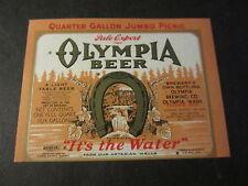 Old 1930's - OLYMPIA BEER - Bottle LABEL - Quarter Gallon Jumbo Picnic - IRTP