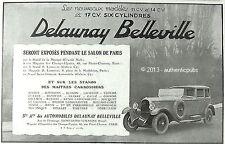 PUBLICITE AUTOMOBILE DELAUNAY BELLEVILLE 11 CV ET 14 CV 17 CV DE 19285 FRENCH AD
