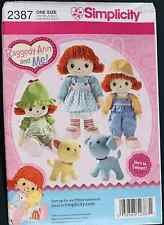 "16"" RAGGEDY ANN & ME Doll Clothes Simplicity Pattern 2387 NEW 8"" Dog & Cat"
