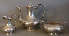 (3)pc Antique ART NOUVEAU Floral ETCHED SILVER Plate KETTLE Old TEA Coffee SET