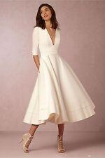 2016 Deep V-neck Half Sleeves A-line Tea Length Satin Beach Wedding Dresses