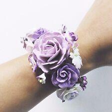 New Purple Rose Bracelet Handcraft Mulberry Paper Bridesmaid Party Flower Wrist