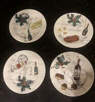 New Williams Sonoma Set 4 Porcelain Salad Plates Xmas Holiday  Made In Portugal