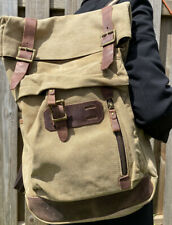 Waxed Canvas Continental Ruck Sack Tan And Leather