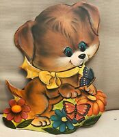 Vintage Kiddie Products Puppy Wall Plaque nursery child room decor Large 1972