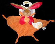 Mon Doudou en lange de coton Lapin rose orange corail Babynat' Baby Nat' BN031