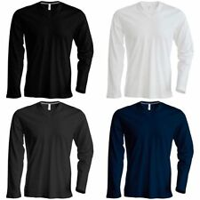 Cotton V Neck Patternless Long Sleeve T-Shirts for Men