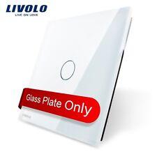 EDEL Glas Abdeckung für 1 Gang Touch Lichtschalter Livolo Weiß Kristall Glas