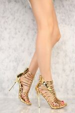 Metallic Patent Mirror Strappy Stiletto High Heels Open Toe Booties Sandals H182