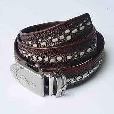 Leather Belt For Men Automatic Belt Buckle Genuine Stingray Skin Belt Brown