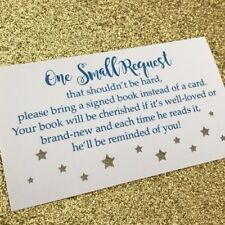 20 Book Request Cards For Boy Baby Shower Invitation Insert - Blue And Gold Star