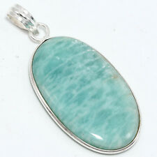 """92.5 Sterling Silver Natural Amazonite Smooth Long Oval Cab Pendant 1.75"""" D-624"""