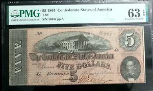 1864 $5 Confederate States CSA T-69 PCGS UNCIRCULATED  63 PPQ  PF-10 R2