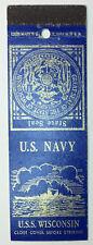 USS Wisconsin BB-64 Vintage Matchcover US Navy Battleship