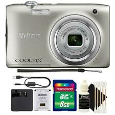 Nikon Coolpix A100 20.1MP Compact Digital Camera Silver with 8GB Kit