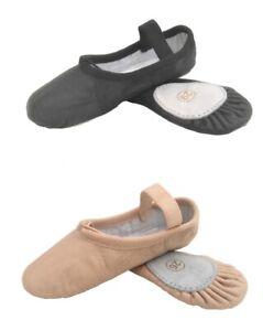 Ballet Shoes Split Sole Leather Pink Black