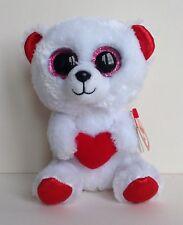 "Ty Beanie Boo CUDDLY BEAR White red heart Soft Plush Toy 6"" Tall NEW Rare"