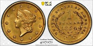 1854 $1 Type 1 Gold Liberty PCGS MS61 - bope