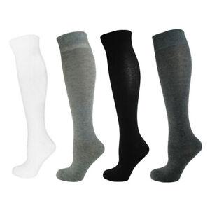 Women Ladies Cotton Rich Plain Colour Long Knee High Socks One Size 4 - 8