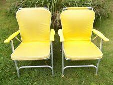 Pair Vintage FINKEL Outdoor Lawn Chair Aluminum Folding Yellow Vinyl - NICE ONES