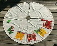 Vtg Handmade White Felt 5' Christmas Tree Skirt Santa Sleigh Train Elf Sequins
