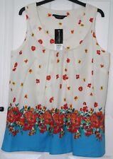 BNWT £26 - Dorothy Perkins Cotton Peter Pan Collar Sleeveless Blouse Top - 14