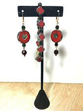 Hand Made Set Earrings & Bracelet Czech Slovakia Glass Beads Drop Earrings