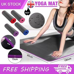 60x180cm Yoga Mat 10mm Thick Gym Exercise Fitness Pilates Workout Mat Non Slip