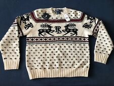 Polo Ralph Lauren Christmas Sweater Mens Sz Large Hand Knit Wool Reindeer-New!