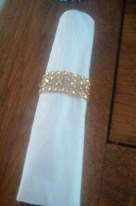 8 Gold Diamante mesh napkin rings with gold rhinestones for Weddings, Xmas