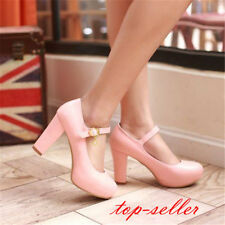 Women's Ladies Cute Mary Janes Block High Heels Round Toe Lolita Dress Shoes Sz