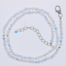 Crystal Necklace, Clear AB, 4mm, Sterling Silver, Made with Swarovski Beads, 925