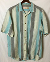 Tommy Bahama Men's M Button Front Camp Shirt Sanchez Stripe Voyager Blue Linen