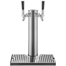 Vevor Beer Tap Faucet Draft Double 2 Tap Stainless Steel Kegerator Drip Tray