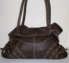 Junior Drake Large Brown Pebble Leather Gold Stud Studded Purse Handbag Bag