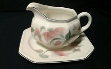 Mikasa Silk Flowers White Green and Pink F3003 Gravy Boat with Underplate