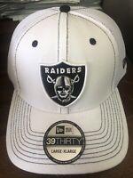 New Era Las Vegas Raiders Flex Hat Cap L/XL White Nfl Football