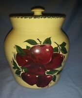 """1999 Home and Garden Party Apple Stoneware Canister Lid 6 1/2"""""""