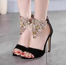 Womens diamond suede Peep Toe Pumps Stilettos Sandals Shoes