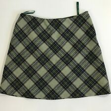 Laura Ashley US Size 14 Green Blue Multi-color Plaid Wool Lined A-line Skirt G08