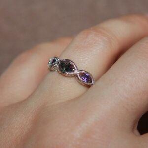 topaz ring gemstone silver jewelry delicate elegant wedding band 5.5 6.5 8.5