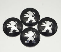 4Pcs Black 56.5mm Car Wheel Center Hub Cap Badge Emblem Sticker Fits for Peugeot