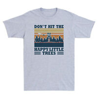 Don't Hit The Happy Little Trees Funny Disc Golf Vintage Men's T-Shirt