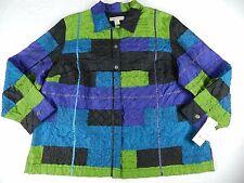 NEW $72 WOMEN`S JACKET = C.L.O.T.H.E.S. = SIZE 3X= blue green button = KN62