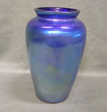 """Vintage Imperial Art Glass Vase in Iridescent Blue and Purples 8.7/8"""" Tall"""