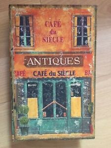 """Wood Storage Canvas Book Ideal for jewelry coffee tea """"Cafe du Secle"""""""